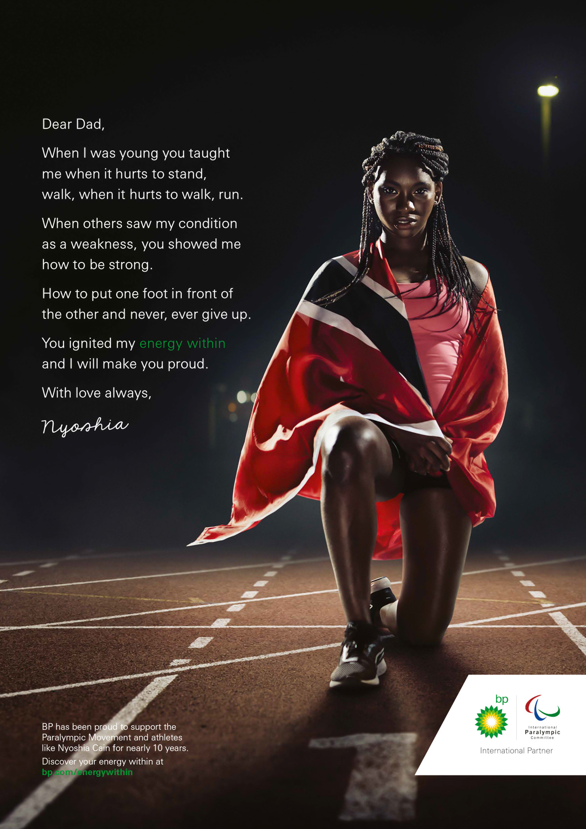 Paralympic track athlete Nyoshia Cain  photographed in Trinidad for Ogilvy for BP photo by Marc Morrison.