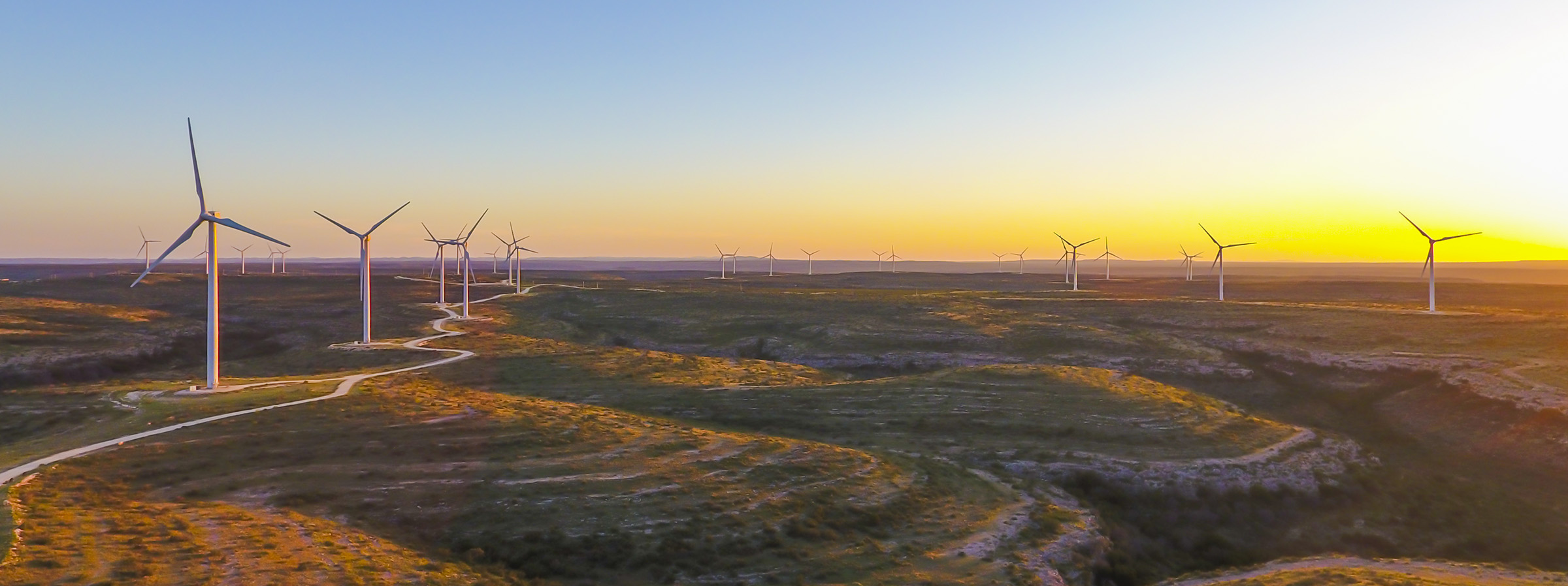 Wind farm Sherbino 2 during sunset in West Texas that were captured by drone photo by Marc Morrison.