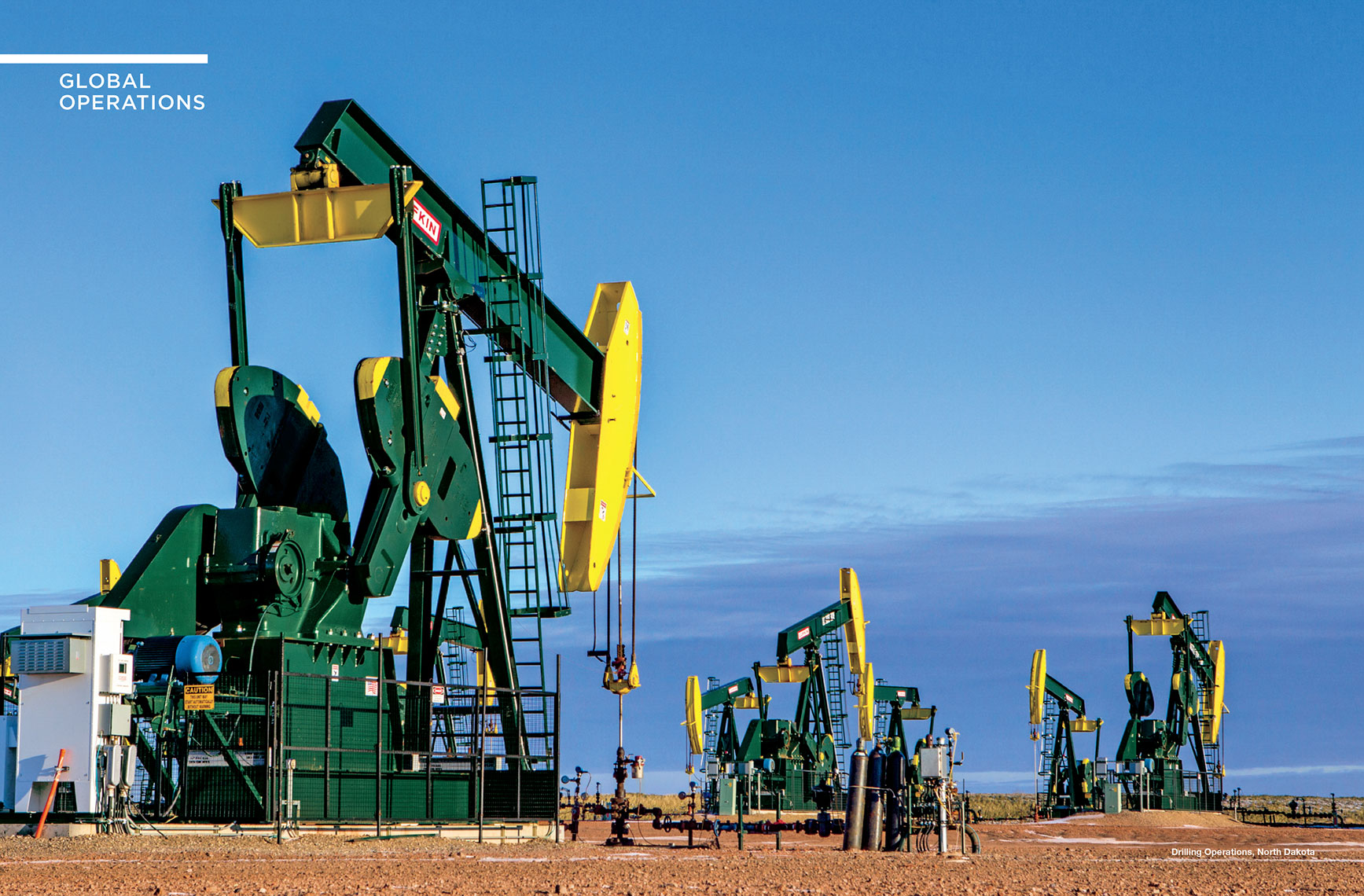 Pump jacks in action outside Minot, North Dakota. This campaign was shot for HESS annual report.