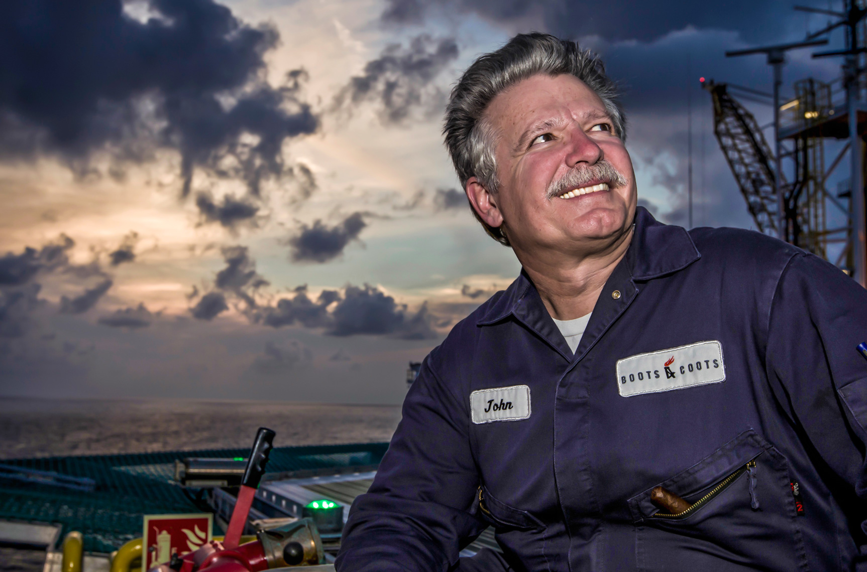 Global relief well advisor sits for a portrait on the Transocean Development Driller 3 after completing the day in the Gulf of Mexico.