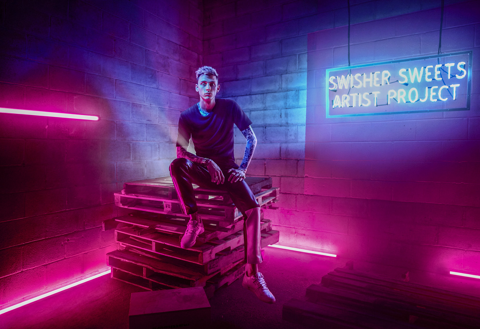 MGK aka Machine Gun Kelly photographed in Nashville, TN a for campaign for Swisher Sweets.