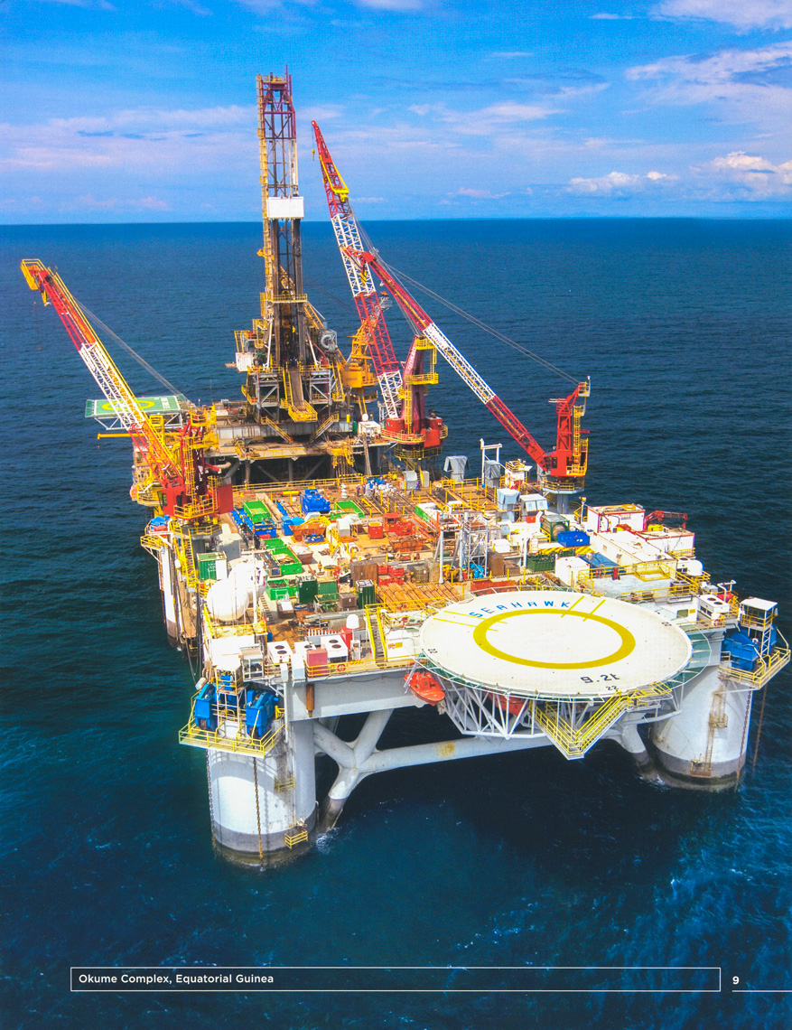 Offshore energy production off the coast of Equatorial Guinea, Africa.