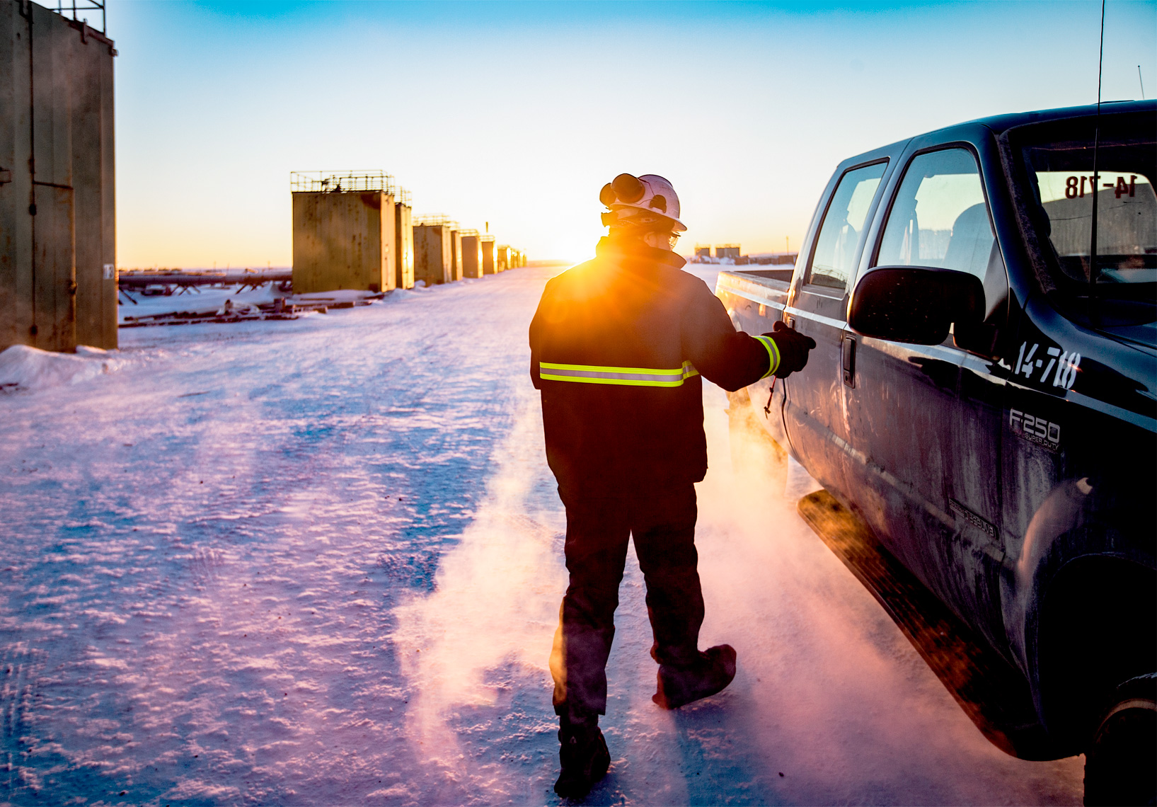 BP operator makes his way to the truck during a bitter cold winter day on the North Slope of Alaska.