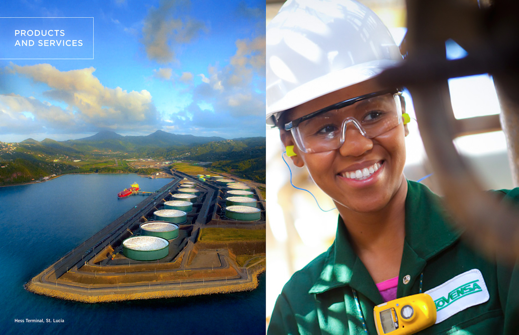HESS Corporation facility in St. Lucia, BVI was shot for corporate reporting for Inc  Design.