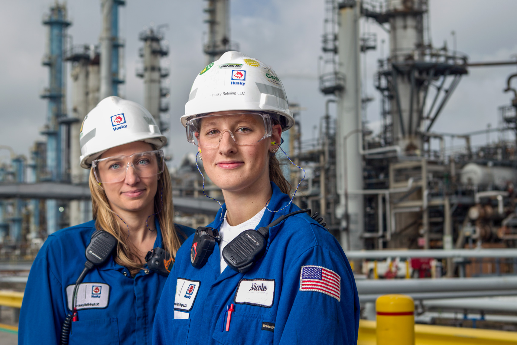Two engineers at the Toledo, Ohio Husky Refinery photographed for corporate reporting.